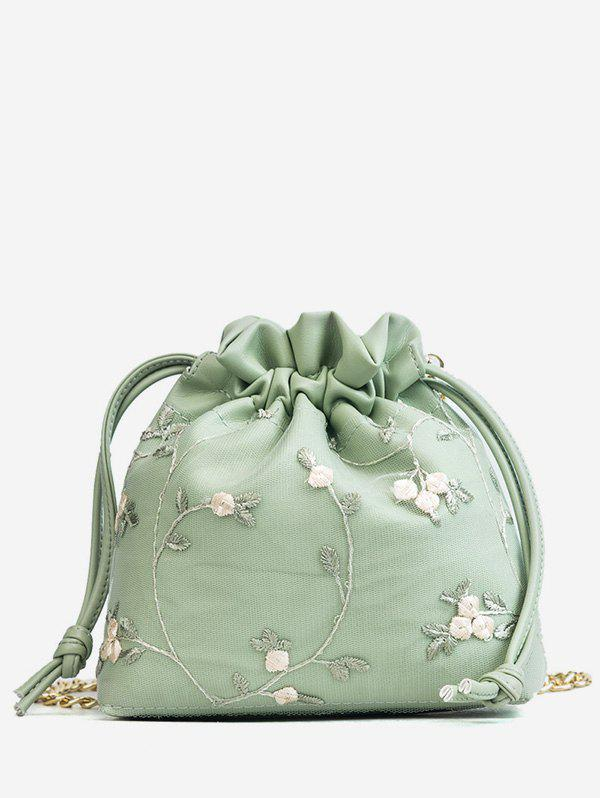 String Floral Chain Casual Vacation Crossbody Bag - LIGHT JADE