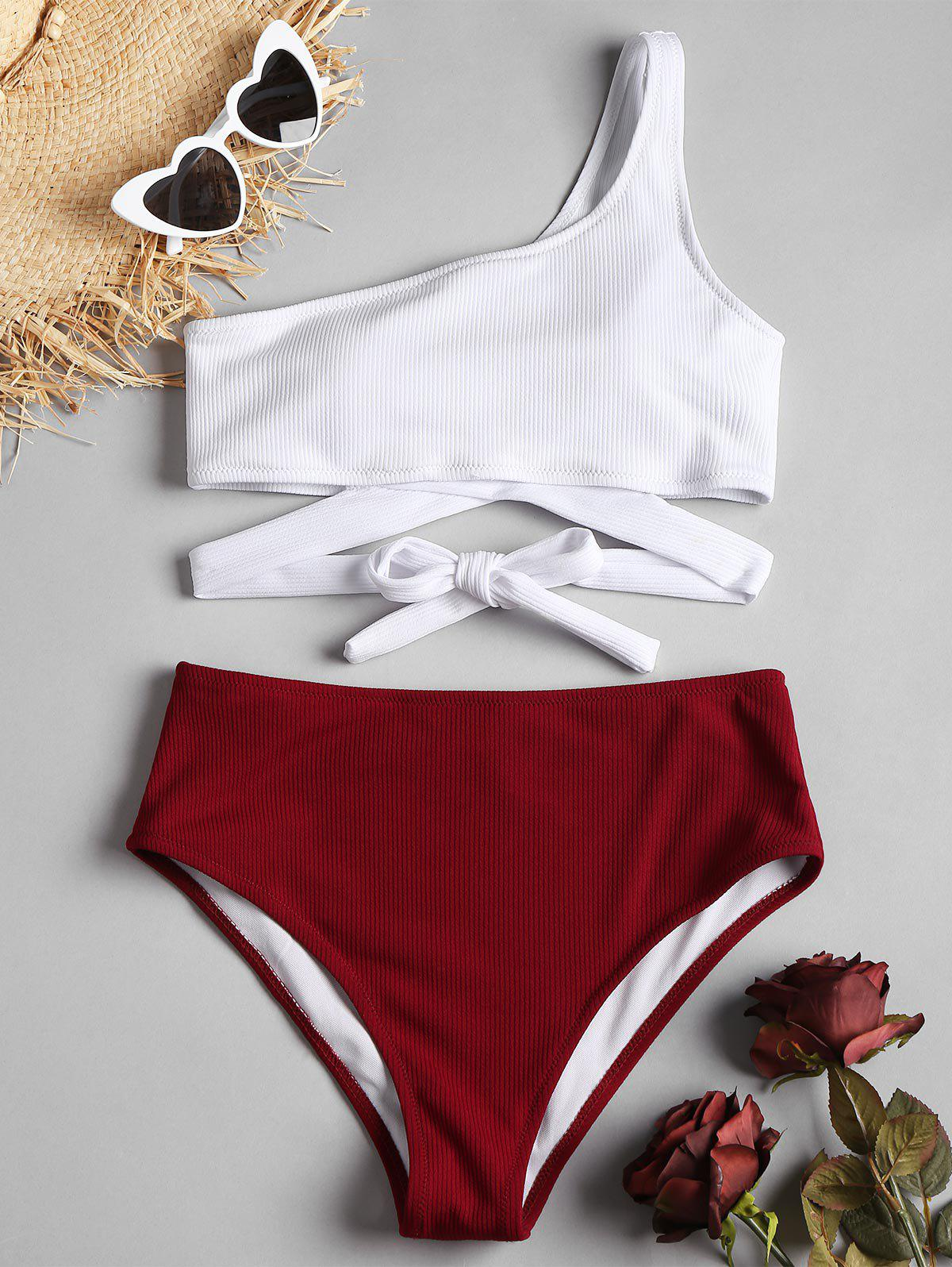 One Shoulder High Cut Two Tone Bikini - RED WINE M