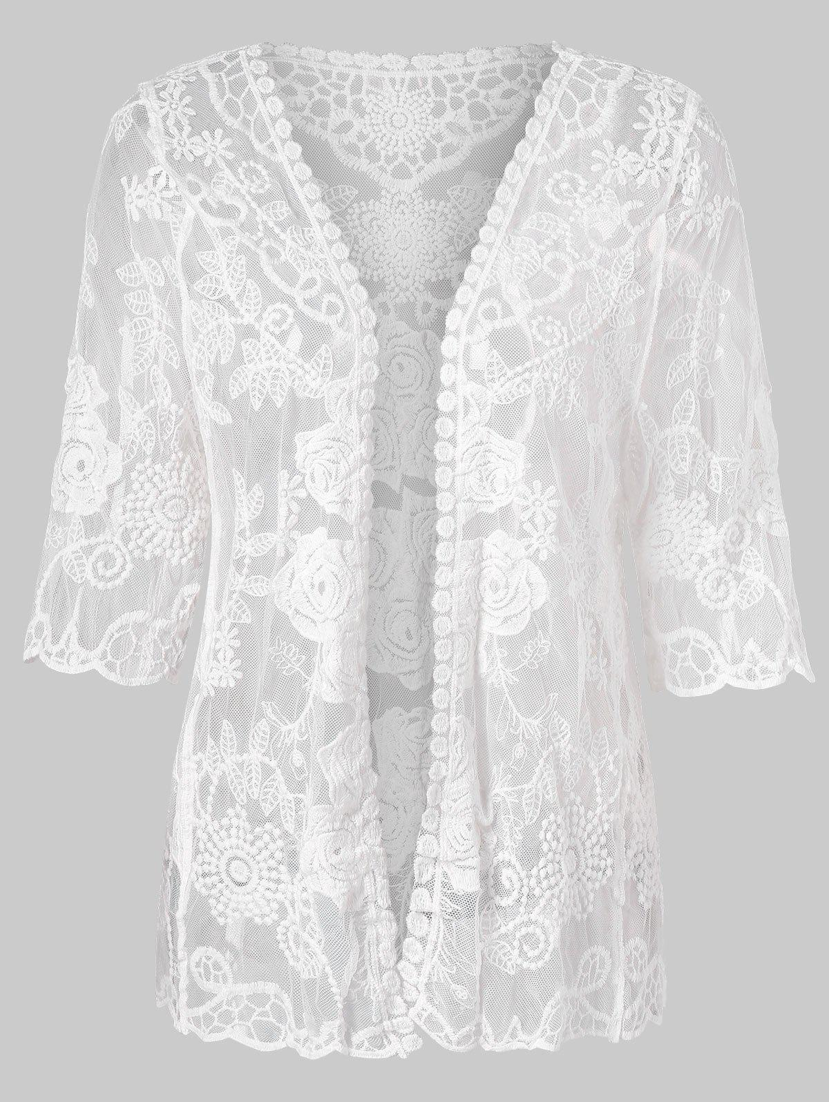 Floral Pattern Open Front Lace Cover Up floral lace dress cover up