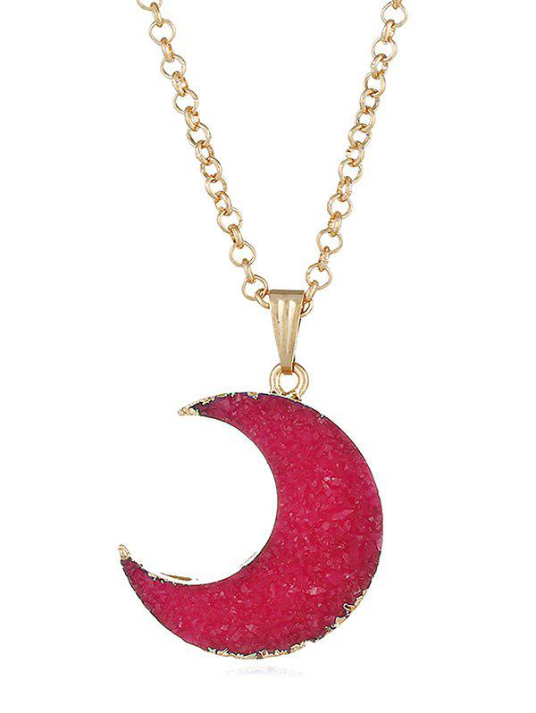 Vintage Faux Crystal Moon Pendant Necklace - RED