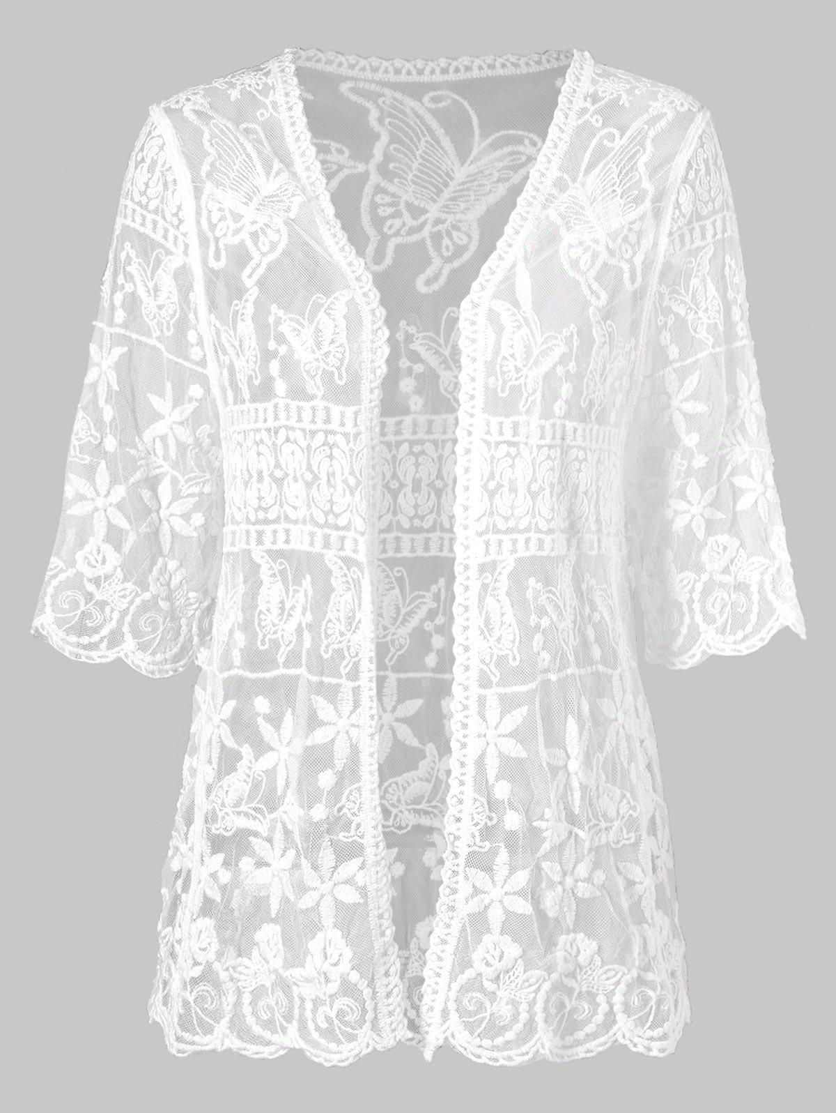 Open Front Butterflies Lace Cover Up цена