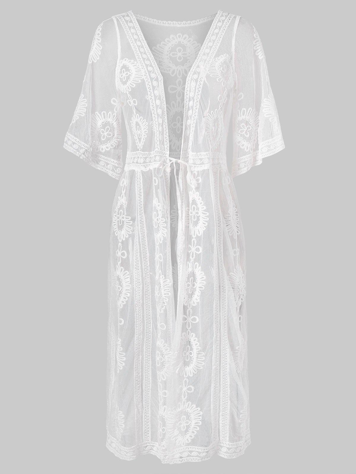 High Waist Lace Maxi Cover Up - WHITE ONE SIZE