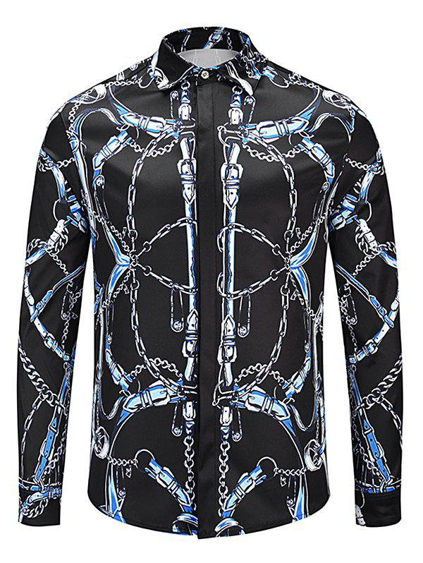 Casual Allover Chain Print Shirt - BLACK M