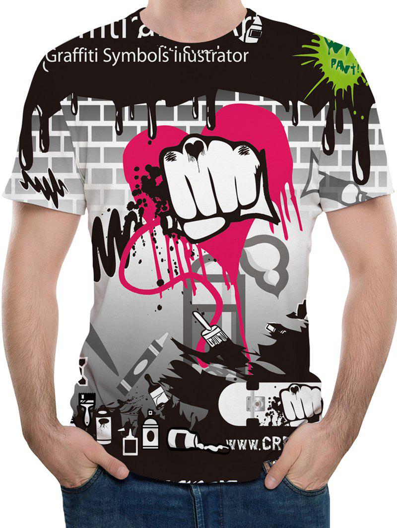 3D Fist Graffiti Print Short Sleeve T-shirt