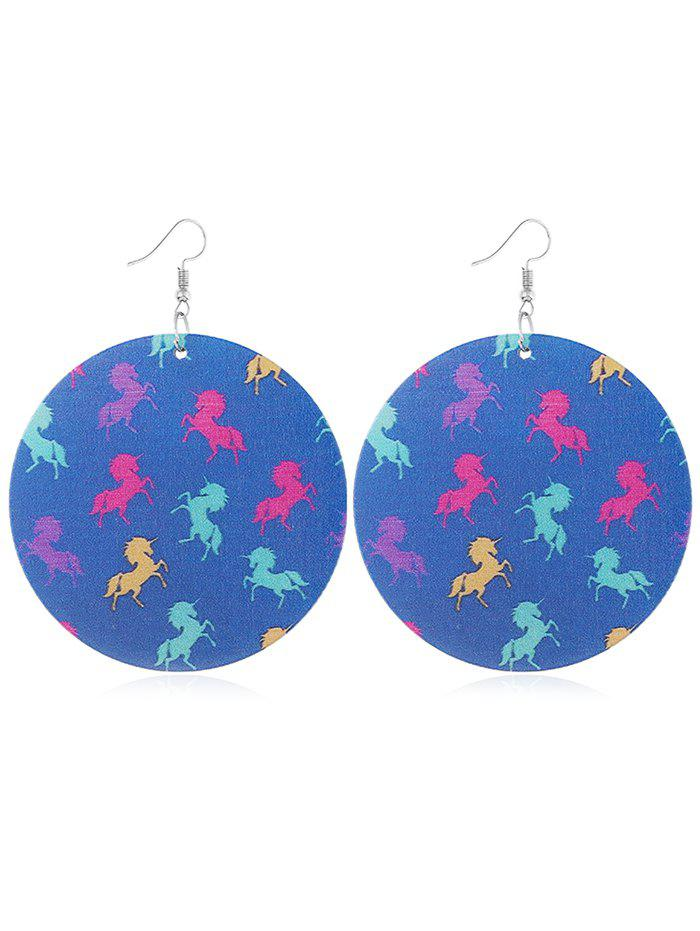 Pair of Unicorn Decorative Wooden Hook Earrings unicorn drop earrings