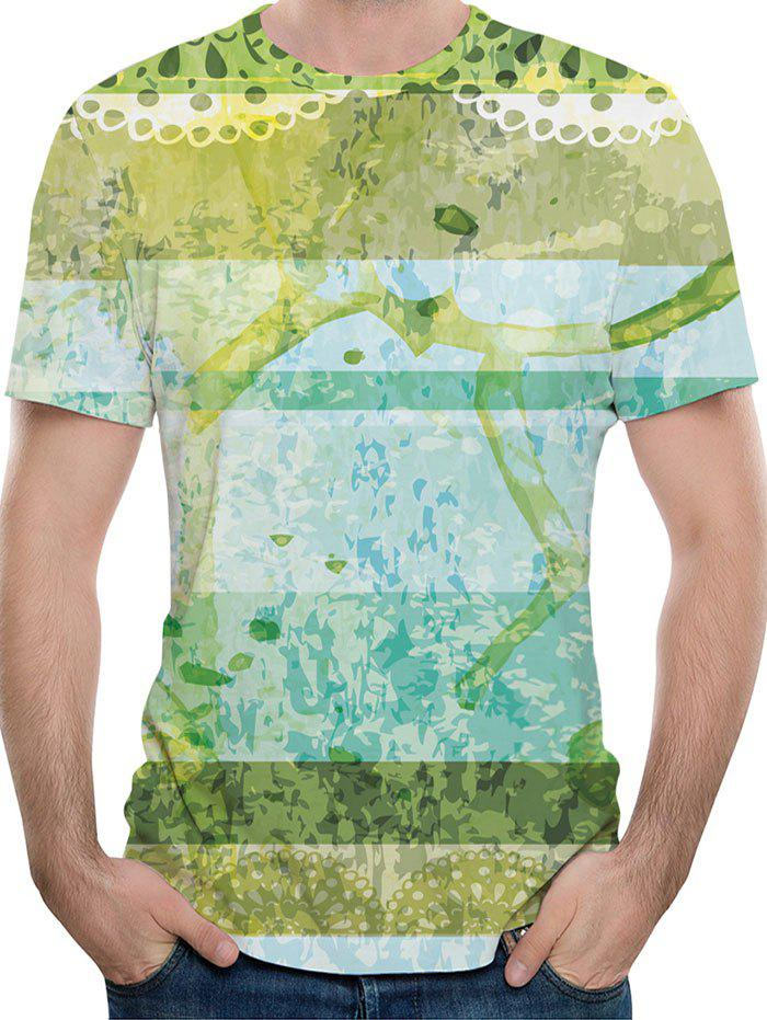 Casual Tree Branch and Leaves Print T-shirt