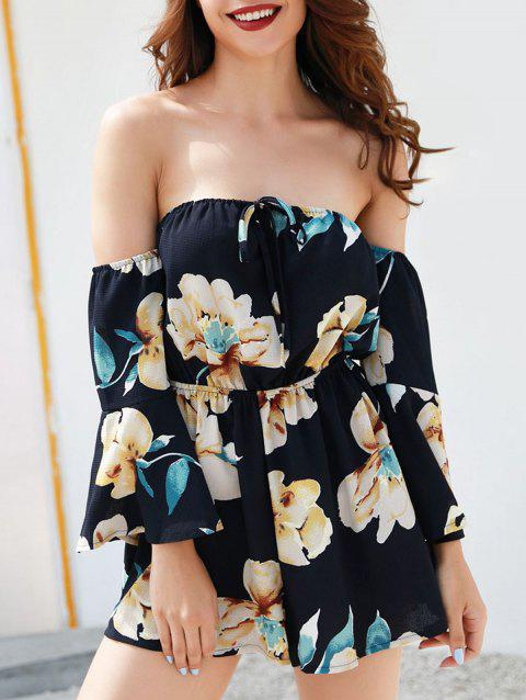 Off The Shoulder Floral Romper - DEEP BLUE S