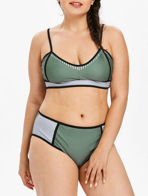 Plus Size Mesh Panel Padded Bikini Set - LIGHT SEA GREEN L