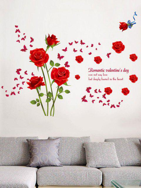 Rose Flower Leaf Butterfly Printing Wall Sticker - RED 60*90CM