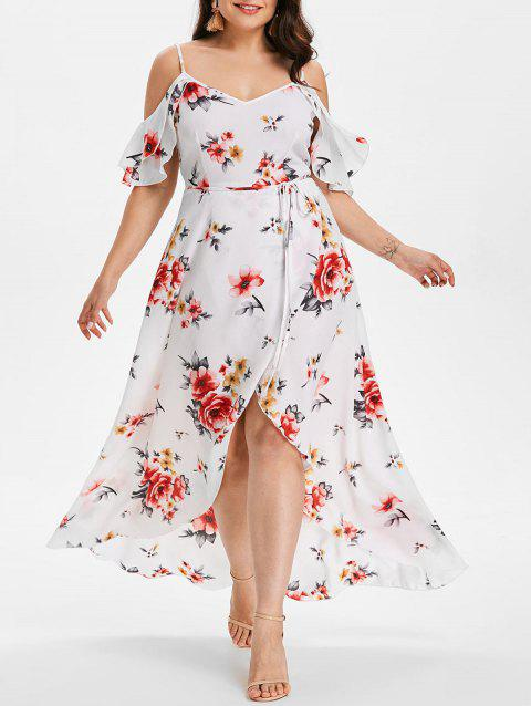 Plus Size Cold Shoulder Floral Maxi Flowing Dress - WHITE 5X