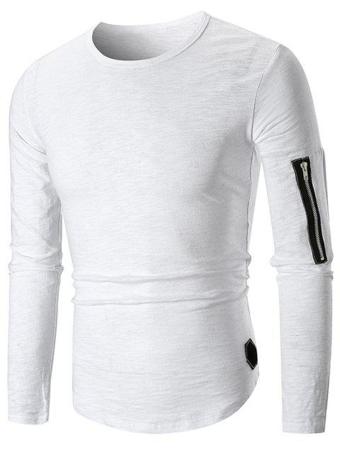 Casual Applique Zipper Embellished T-shirt - WHITE M