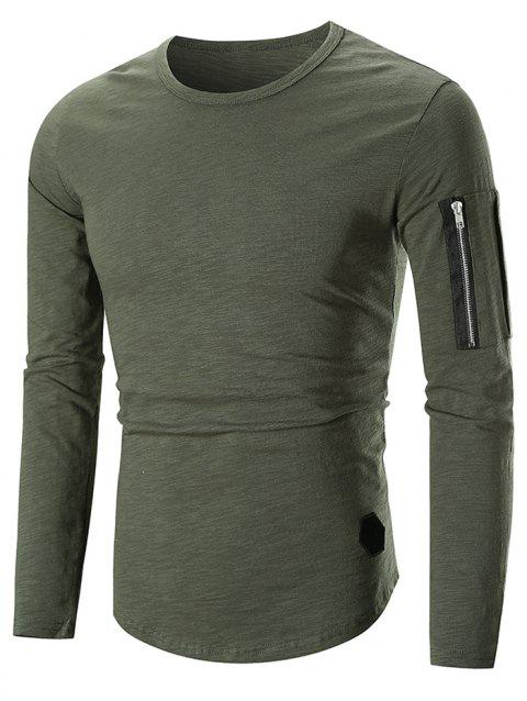 Casual Applique Zipper Embellished T-shirt - ARMY GREEN M