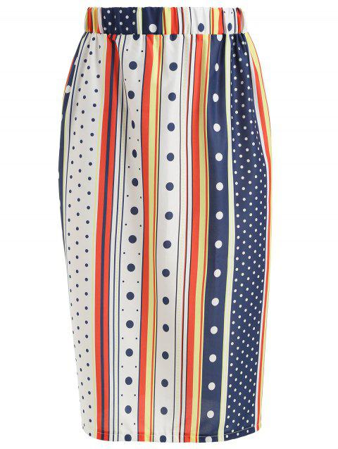Contrast Striped Polka Dot Print Skirt - multicolor M