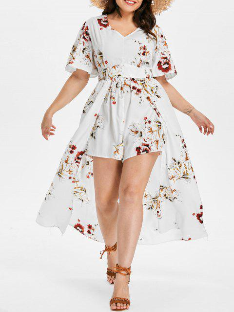 Short Sleeve Plus Size Floral Print Romper - WHITE 3X