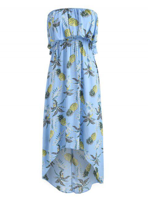 Pineapple Print Asymmetric Strapless Midi Boho Dress - BUTTERFLY BLUE L