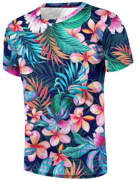Leaves Floral Print Crew Neck Tee - multicolor S