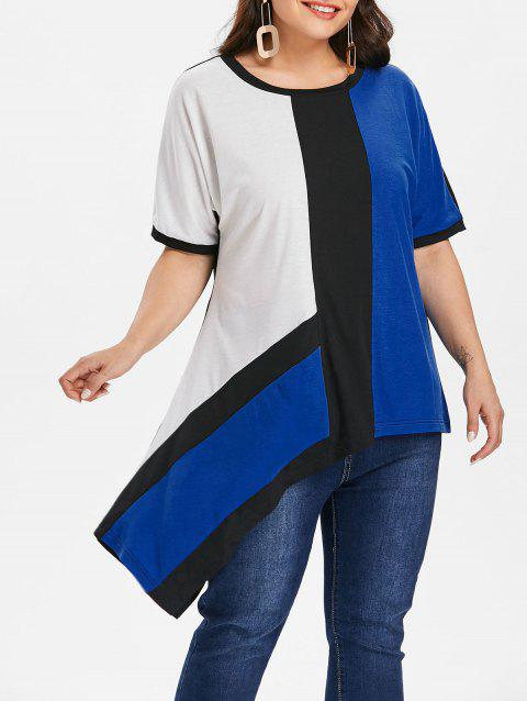 Round Neck Color Block Plus Size T-shirt - BLACK 2X