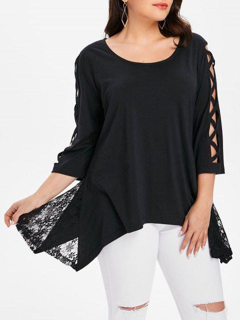 Criss Cross Sleeve Plus Size Asymmetrical Top - BLACK 4X