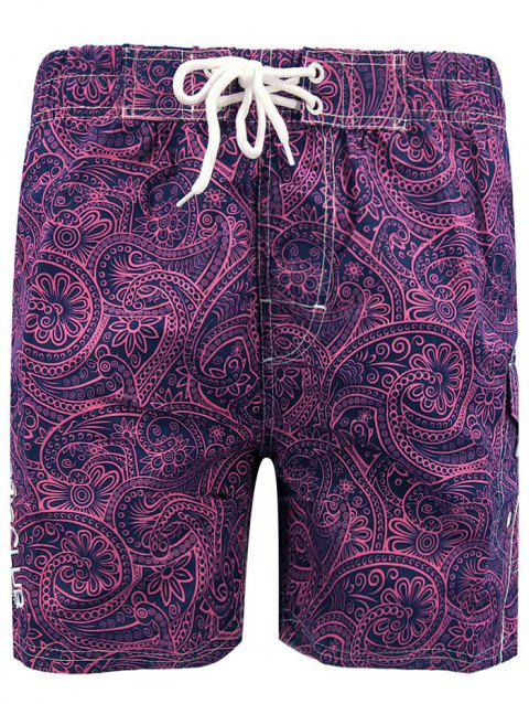 Lace Up Allover Floral Prints Board Shorts - ROSE RED M