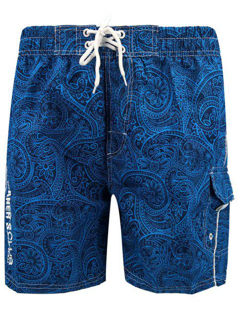 Lace Up Allover Floral Prints Board Shorts - ROYAL BLUE L