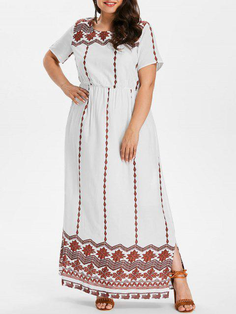 Plus Size Print Floor Length Dress - WHITE 1X