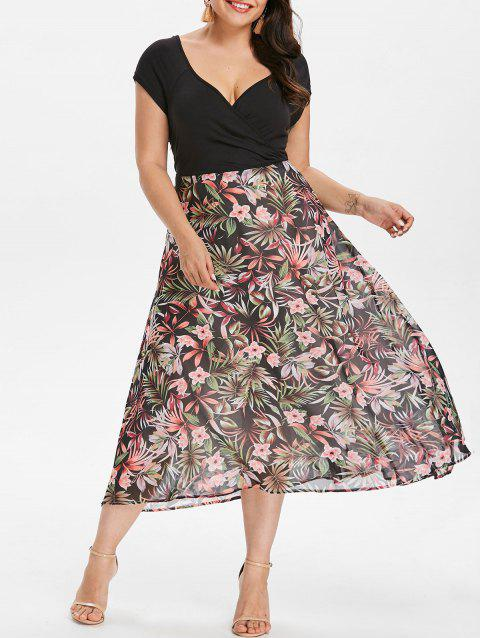 17% OFF] 2019 Plus Size Flower Print Hawaiian Dress In BLACK | DressLily