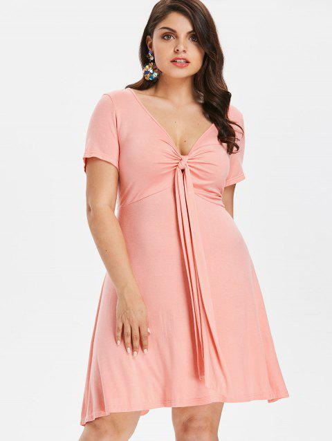 Plus Size Knot Plunge Dress - LIGHT PINK 1X