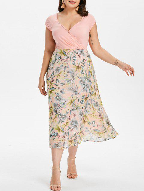 Plus Size Flower Print  Hawaiian Dress - LIGHT PINK 4X