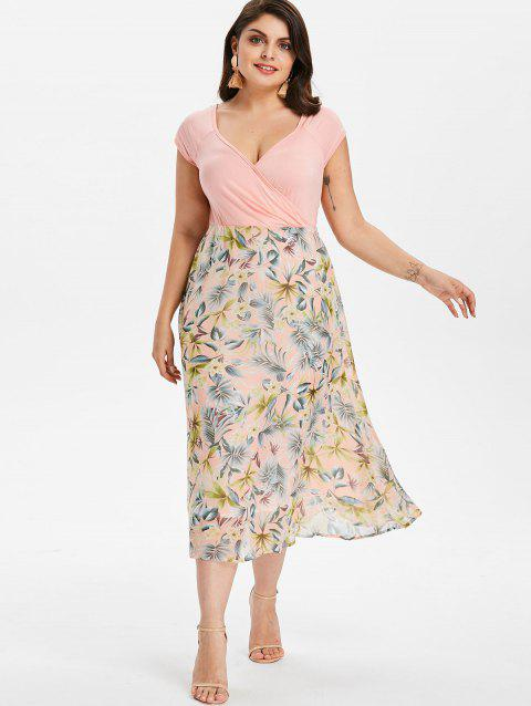 41% OFF] 2019 Plus Size Flower Print Hawaiian Dress In LIGHT PINK ...