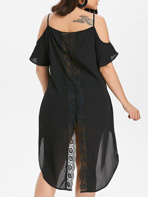 e260ecad557 LIMITED OFFER  2019 Lace Panel Plus Size High Low Blouse In BLACK L ...