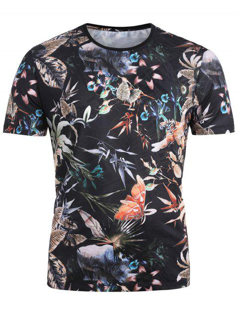 Rainforest Plants and Animals Short Sleeve Breathable Tee - BLACK XS