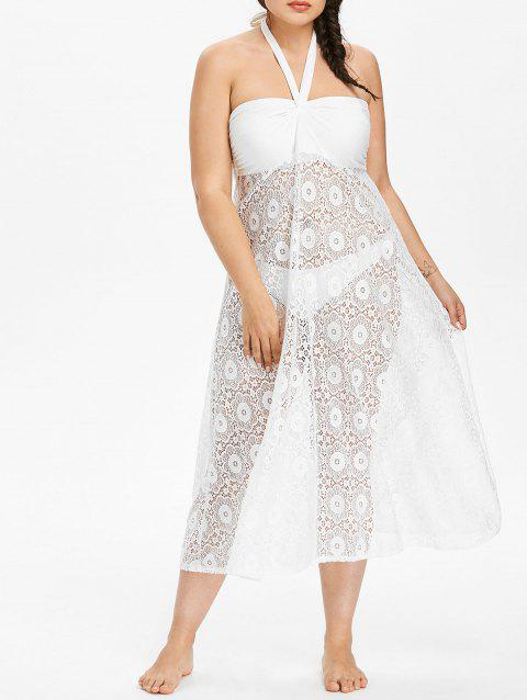 Plus Size Halter Lace Cover-up Dress - WHITE 2X