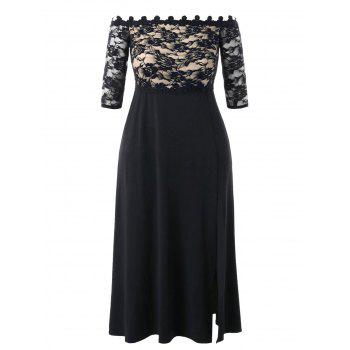 Plus Size Lace Maxi Slit Prom Dress - BLACK 2XL