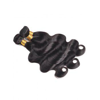 Permed Dyed Human Hair Body Wave Hair Weaves - BLACK 22INCH*22INCH*22INCH