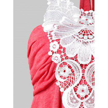 Halter Floral Lace Empire Waist Tank Top - RED 2XL