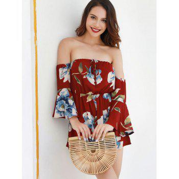 Off The Shoulder Floral Romper - RED WINE M