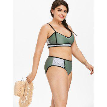 Plus Size Mesh Panel Padded Bikini Set - LIGHT SEA GREEN 3X