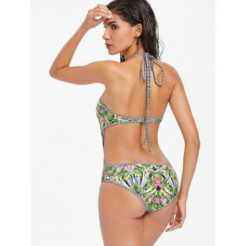 Leaf Backless Monokini Swimsuit - AVOCADO GREEN S