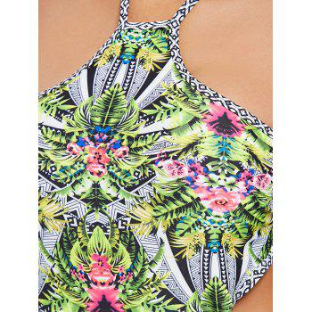Leaf Backless Monokini Swimsuit - AVOCADO GREEN M