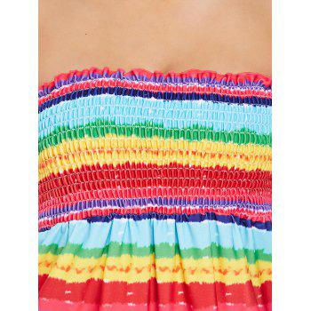 Rainbow Tie Dye Skirted Tankini - multicolor M