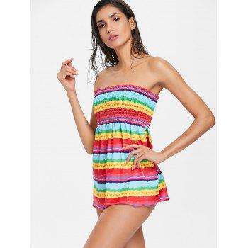 Rainbow Tie Dye Skirted Tankini - multicolor L