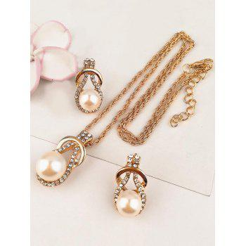 Vintage Rhinestone Inlaid Faux Pearl Alloy Jewelry Set - WHITE