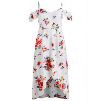 Plus Size Cold Shoulder Floral Maxi Flowing Dress - WHITE 2X