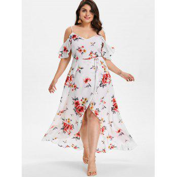 Plus Size Cold Shoulder Floral Maxi Flowing Dress - WHITE 3X