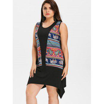 Plus Size Paisley Tunic Dress - BLACK L