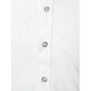 Color Block Turn Down Collar Casual Shirt - WHITE L