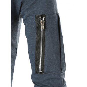 Casual Applique Zipper Embellished T-shirt - SLATE BLUE M
