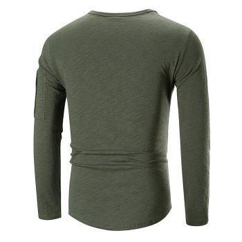 Casual Applique Zipper Embellished T-shirt - ARMY GREEN 3XL