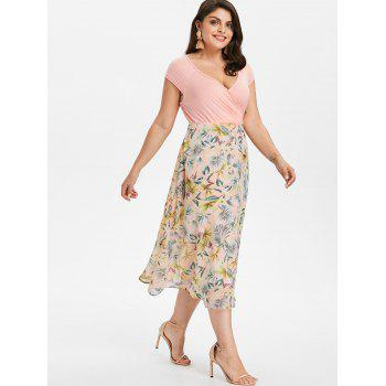 Plus Size Flower Print  Hawaiian Dress - LIGHT PINK 1X