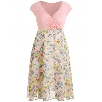 Plus Size Flower Print  Hawaiian Dress - LIGHT PINK 3X